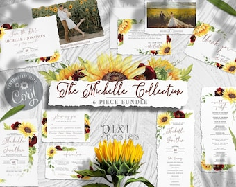 Michelle Stationery Suite, Rose and Sunflower Wedding Invitation Template Bundle with Photo Invite Info RSVP Program Save the Date Thank You