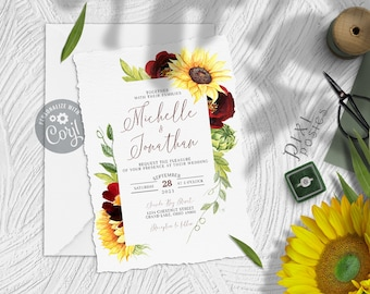 Michelle Invitation, Rose and Sunflower Wedding Invitation Template, Burgundy Yellow Country Wedding 5 x 7 Instant Download Printable Invite