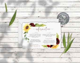 Rose and Sunflower Details Card or Registry Card, Watercolor Floral Wedding Info Card Template, Instant Download Corjl Printable, 5 x 3.5