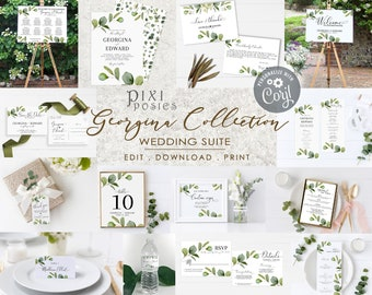 Georgina Complete Suite, Eucalyptus Wedding Template Bundle, Details RSVP Save the Date Thank You Program Menu Welcome Seating Table Signs