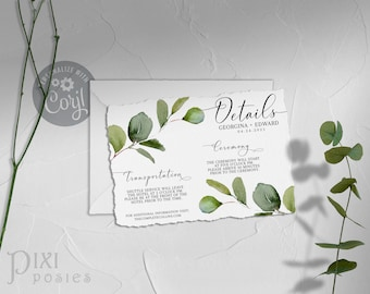 Eucalyptus Details Card or Registry Card, Corjl 5 x 3.5 Watercolor Foliage Greenery Wedding Info Card Template, Instant Download Printable