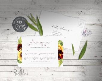 Rose and Sunflower RSVP Postcard, Corjl 5 x 3.5 Watercolor Floral Shower Wedding RSVP Postcard Template, Instant Download Printable Card