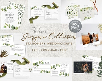 Georgina Stationery Suite, Eucalyptus Wedding Invitation Bundle with Photo, Greenery Templates Invite Details RSVP Save the Date Thank You