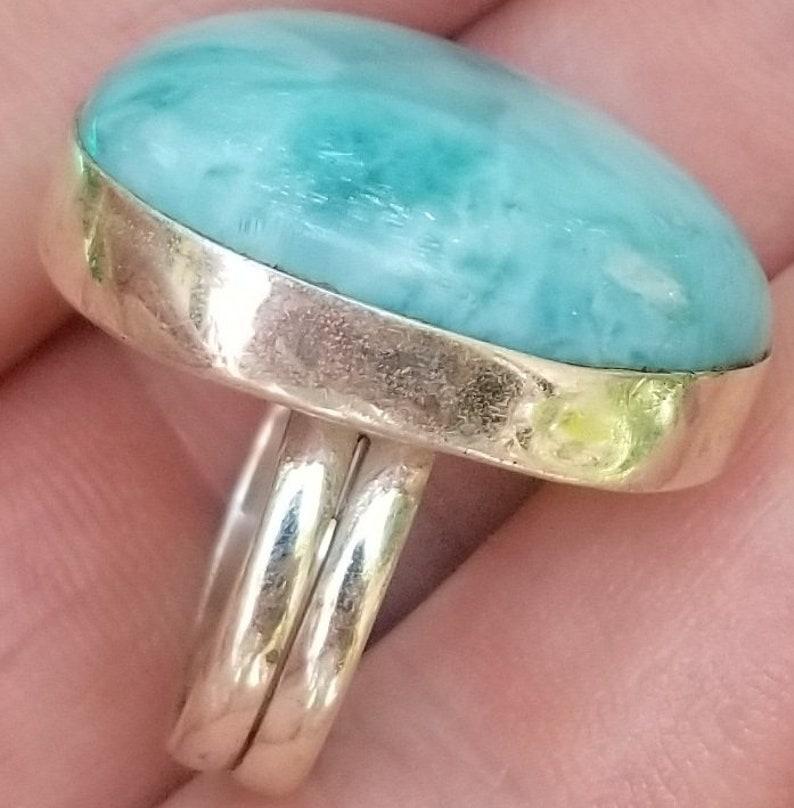 PREMIUM  blue LARIMAR stone 925 sterling silver RING size 7.5 ab-3