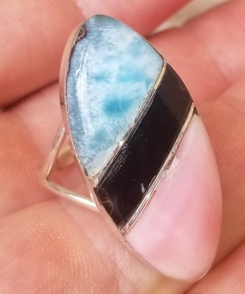 CORAL and pink CONCH  925 sterling silver ring size 9.25 lcp-6 Natural LARIMAR