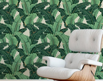 Banana Leaf Wallpaper SAMPLE Removable Self Adhesive Peel And Stick Floral Hotel Lounge