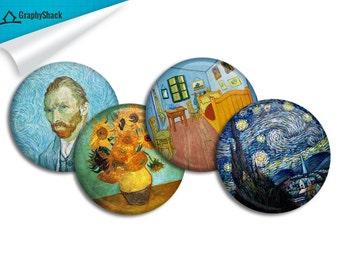 Starry Night Vase Van Gogh's Room Van Gogh Self Portrait Painting Badge Metallic Pinback Pin Button Pack Batch