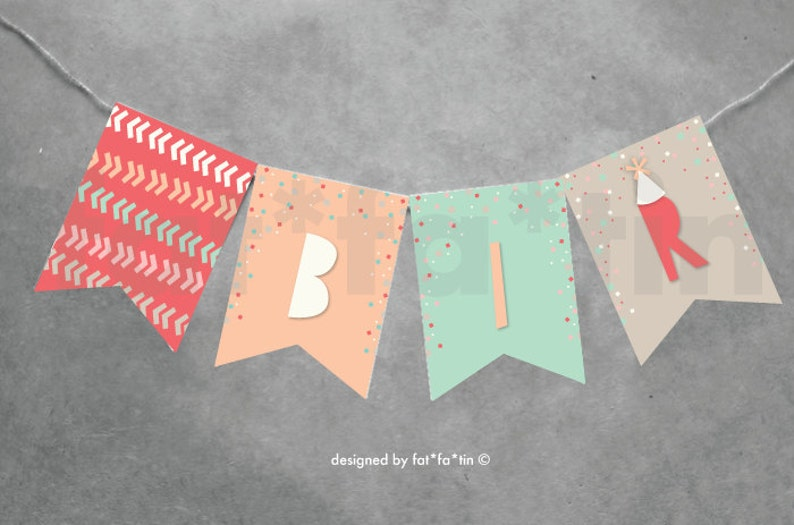 Oh What Fun To Be One 1st Birthday Party Decoration For Kids /& Girls PRINTABLE pdf Colorful Pastels Confetti Happy Birthday Bunting Banner