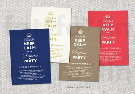 Keep calm its a surprise milestone birthday invitation etsy filmwisefo