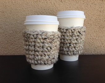 Chunky Coffee Cozy in Oatmeal, Crochet Coffee Cozy, Coffee Cup Sleeve, Paper Coffee Cup Cozie, Reusable Cup Sleeve, Ready To Ship