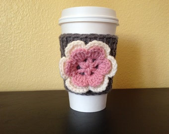 Coffee Cozy with Flower, Tunisian Crochet Flower Coffee Cup Sleeve, Reusable Eco Friendly, Gfit for Her, Teacher Gift *Ready To Ship*