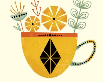 Tea for Two Set (Yellow Cup) by Amber Leaders 4x4, 5x7, 8x10, 11x14, 16x20 with Canvas Options art print mid-century modern