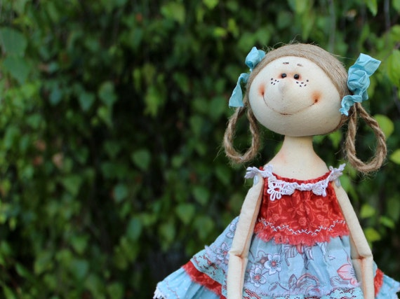 Exclusive handmade fabric doll 10 tall