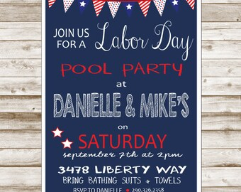 Labor Day Invitation-Printable-Invitation-pool party-4th of July-DIGITAL FILE-PRINTABLE
