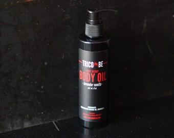 Tricombe Lavender-Vanilla Light Weight Body Oil, MCT Oil, Oil for Skin, Oil for Hair, Massage Oil, Fractionated Coconut Oil (8oz.)