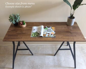 Delicieux Long Desk Or Narrow Dining Table, Long Table. Handfinished Wood On Metal  Ikea Legs. CHOOSE ANY SIZE! Free Shipping