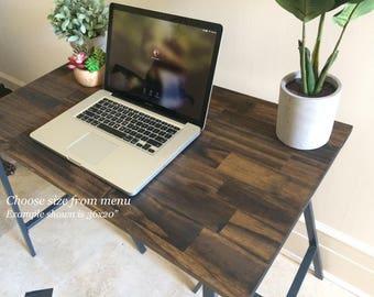 Spruce Hand-Finished Wood Desk on Ikea Trestle Legs with Dark Walnut Stain, Dark Wood Furniture, Table, Desk. Free Shipping!