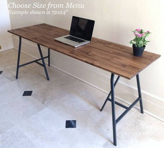Large Desk Hand Finished Wood And Metal Table On Ikea Legs   Etsy
