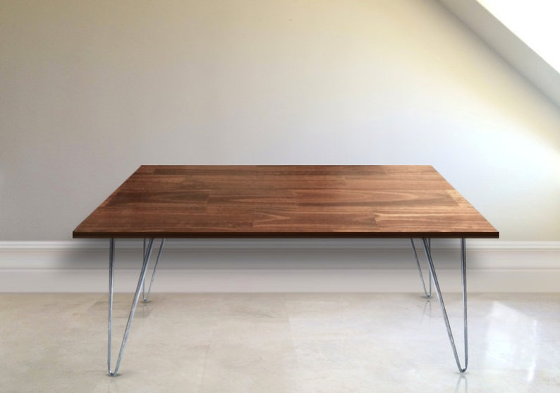 Rustic Coffee Table With Hairpin Legs In English Chestnut Etsy