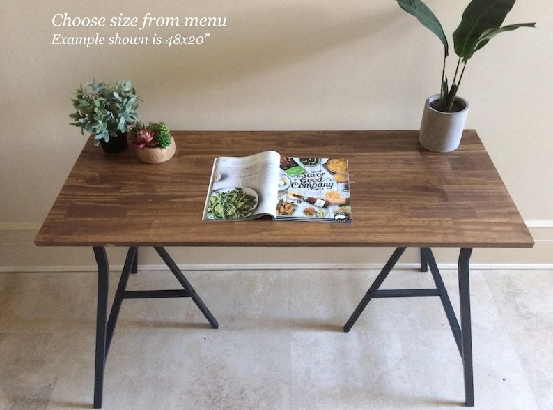 48x20 Long Desk Or Narrow Dining Table Long Table Handfinished Wood On Metal Ikea Legs Free Shipping