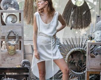 d592e8c9fcb White Silk Dresses for Women ∆ Boho Short Silk Slip Dress ∆ Minimalist Tank  Dress ∆ Simple White Tunic Midi Dress ∆ Salsa Silk Dress Belted