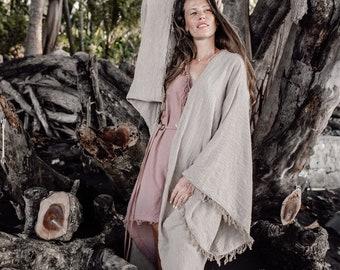 17f92caed4a147 Enormi maniche larghe Kimono Cardigan - Cotone crudo Khadi Kaftan Cardigan  Poncho Cappotto - Zingaro Dea Cerimonia Vestiti - Abbigliamento Eco Friendly