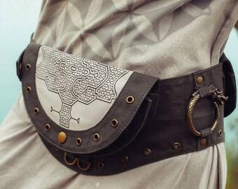 Shipibo Pocket Belt Bag ∆ Festival Cotton Canvas Thigh Purse ∆ Hip Bag Cyberpunk Clothing ∆ Vegan Pouch Fanny Waist Pack for Women & Men