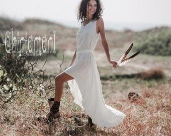 0539d9b8e27a Bohemian Linen Asymmetric Dress / Pure Linen Boho Everyday / Gypsy Wedding  / Organic Linen / Off-white Raw