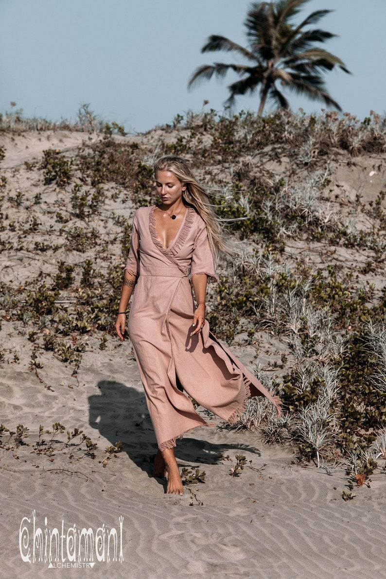 Long Bohemian Maxi Wrap Dusty Pink Dress with Cotton Fringe  Boho Chic Bridesmaids Dresses