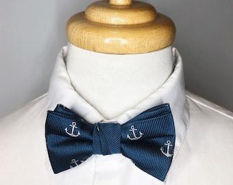 Blue anchor silk baby bowtie/ boys bowtie / children's bowtie
