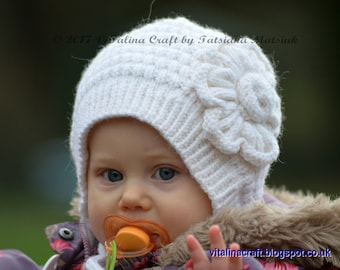 Knitting Pattern - Snowy Flower Bonnet (Baby and Toddler sizes) c36233d0305