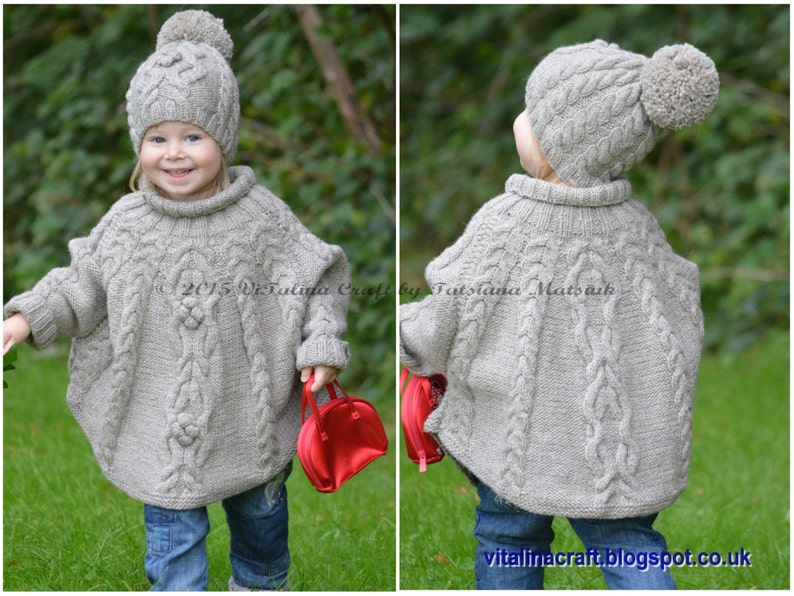 Knitting Pattern  Temptation Poncho and Hat Set Toddler and image 0