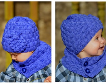 Knitting Pattern - Grapevine Hat and Scarf (Baby, Child, Adult sizes) in ENG and RUS
