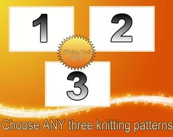Choose ANY three knitting patterns