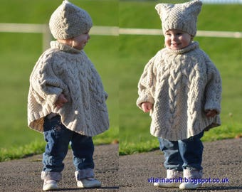Knitting Pattern - Vanilla Cloud Poncho and Hat Set (Toddler and Child sizes)