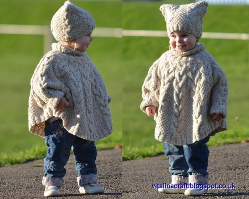 50fe2b39fc68 Knitting Pattern Vanilla Cloud Poncho and Hat Set Toddler