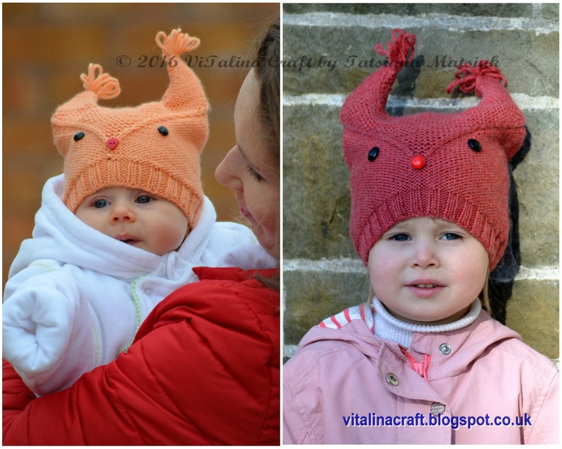 ed1c7381a Knitting Pattern Squirrel V Hat Baby Child and Adult