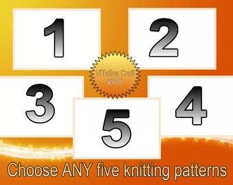 Choose ANY five knitting patterns