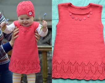 Knitting Pattern - Coralline Flower Tunic (Baby and Child sizes) in ENG and RUS
