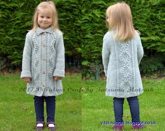 Knitting Pattern - Diamond Dust Coat (Toddler, Child and Teen sizes)