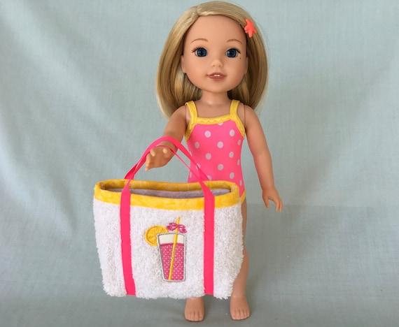 Limonade rose maillot de bain et sac de plage pour poupée Wellie Wisher/14,5 pouces