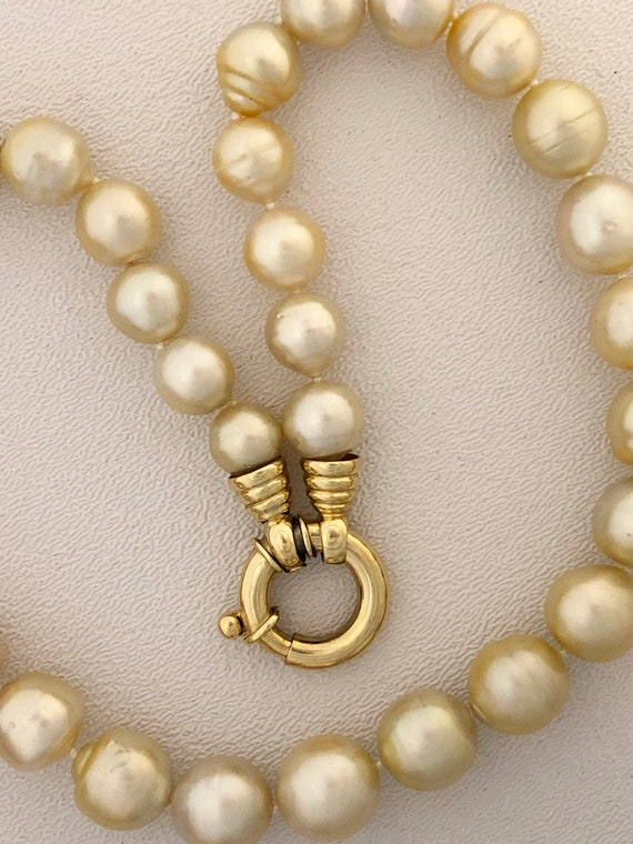 Blue Chalcedony White Baroque Pearl Necklace 18 inches Real Cultured Accessories