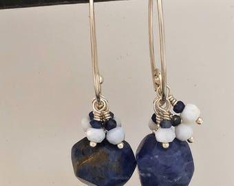 Sodalite and blue opal earrings