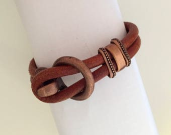 Brown Leather and copper bracelet