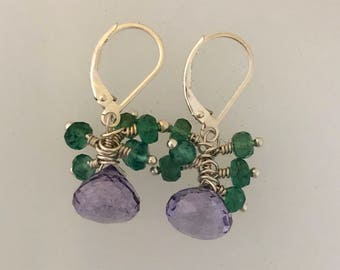 Amethyst drops earrings with green apatite accents