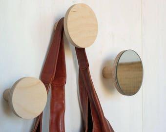 3 Wooden wall hooks / mirror