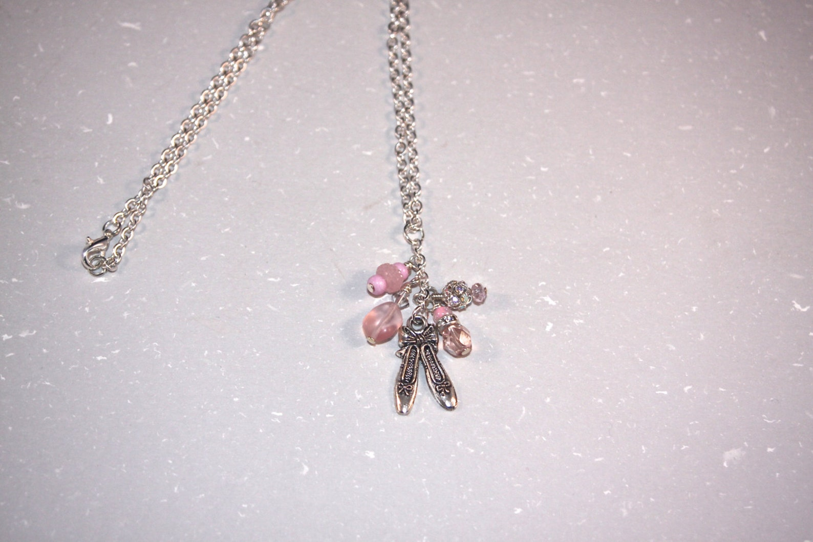 soft pink ballet slipper dangle charm necklace wonderful dancer gift.
