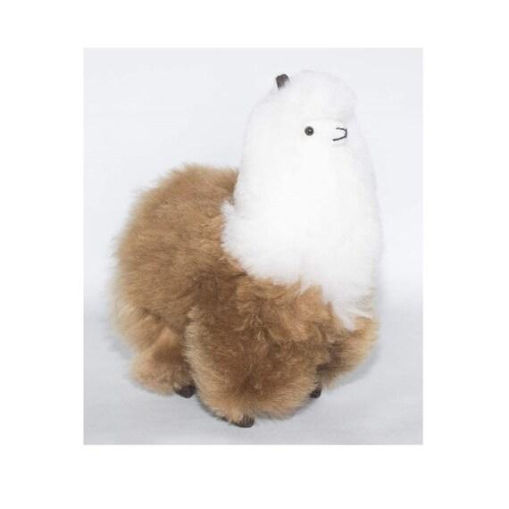 100/% Baby Alpaca Fur Handmade 9 inch White and Brown Alpaca Plush Soft Doll