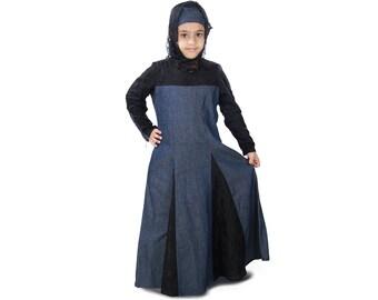 3a45601ac5e MyBatua Fancy Yet Elegant Blue And Black Denim Beautiful kid Abaya, Muslim  Traditional Baby Girl Gown, Islamic Clothing, Jilbab, AY-426-K
