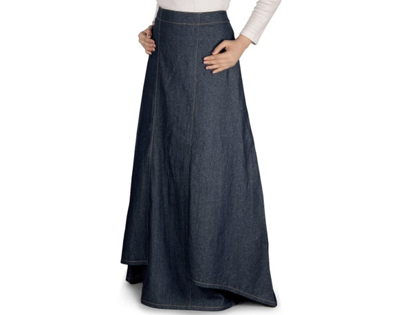 best verkocht redelijk geprijsd exclusieve deals MyBatua fancy denim blauwe lange vrouwen rok, islamitische formele &  dagelijkse slijtage rok, islamitische kleding, moslim vrouwen AS-001